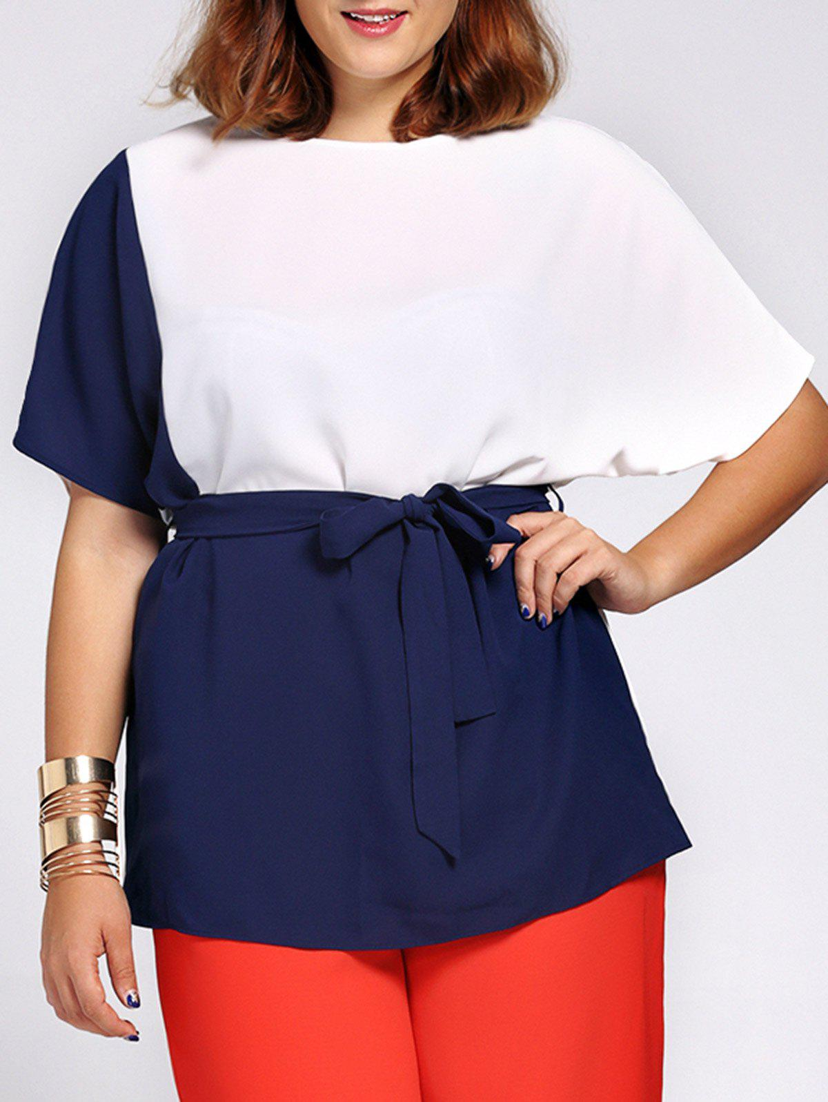 Chic Color Block Short Sleeve Waist Tied Plus Size Blouse For Women