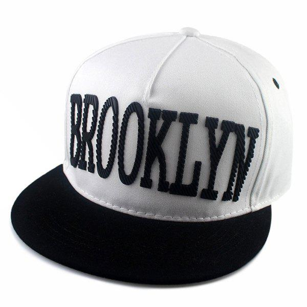 Street Fashion Hipsters Capital Letter Shape Embellished Baseball Cap - WHITE