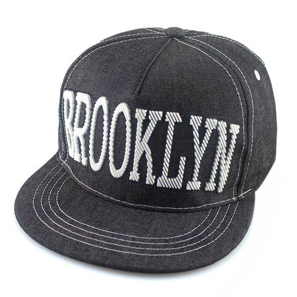Street Fashion Hipsters Capital Letter Shape Embellished Denim Fabric Baseball Cap - DEEP GRAY