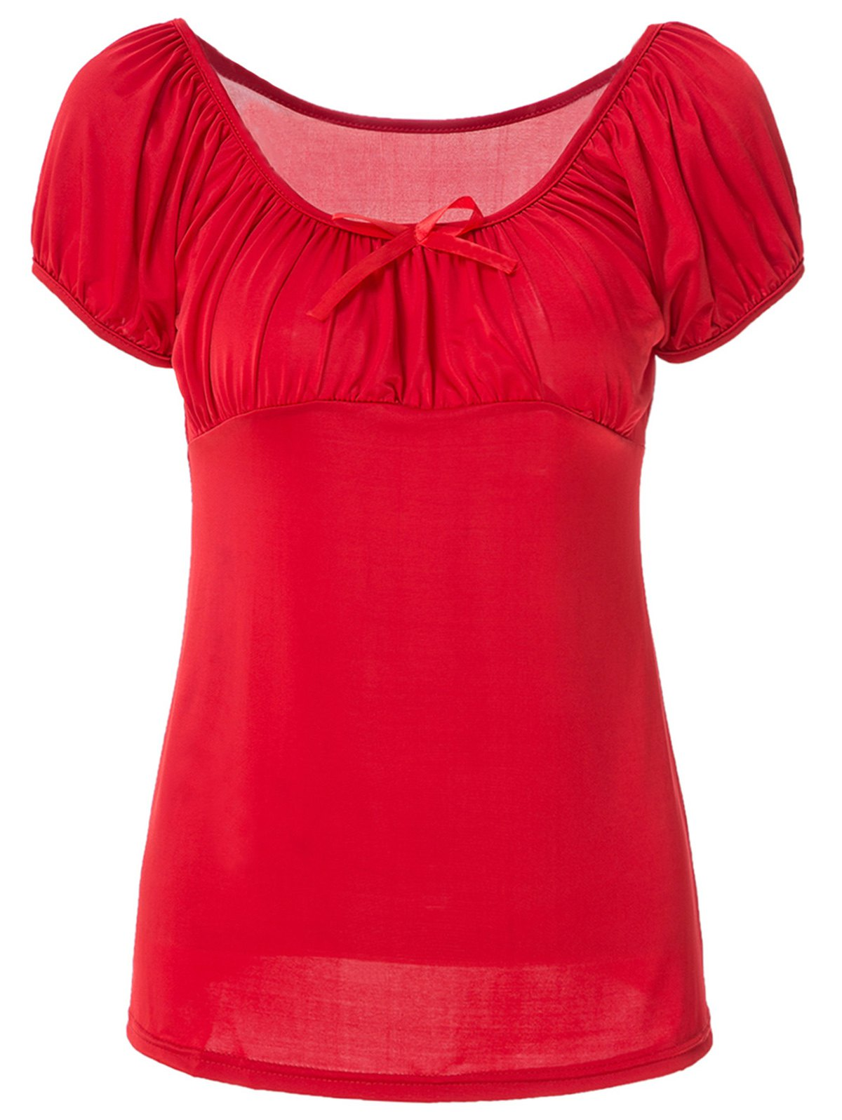 Noble Boat Neck Pure Color Bowknot Ruffled T-Shirt For Women - RED L