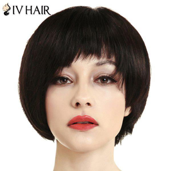 Women's Charming Neat Bang Siv Hair Short Human Hair Wig - BLACK