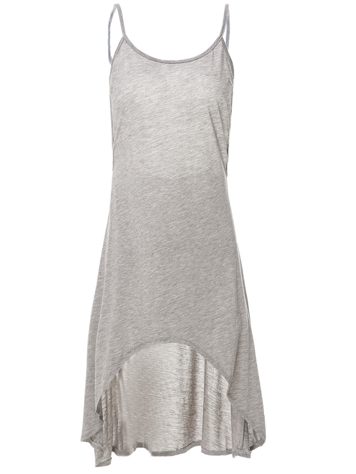 Gris Spaghetti Strap Backless Haut Robe Bas - Gris S