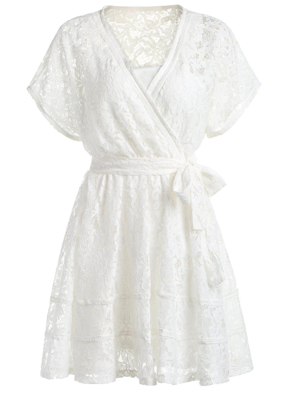 Sweet Women's Cami Dress and Plunging Neck Cap Sleeve Tied Lace Dress Set - WHITE ONE SIZE(FIT SIZE XS TO M)
