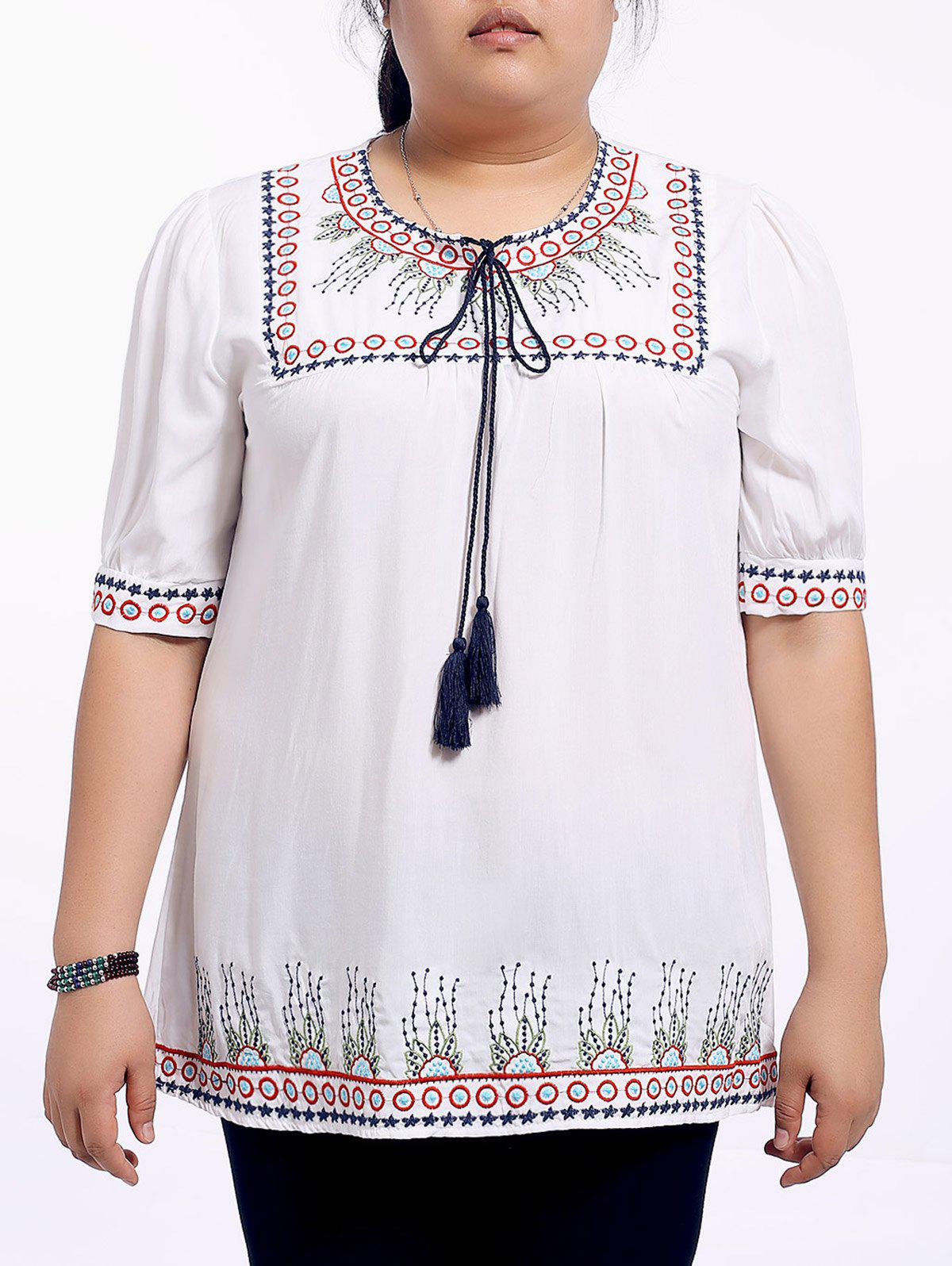 Ethnic Plus Size Loose-Fitting Embroidered Women's Blouse - RED XL