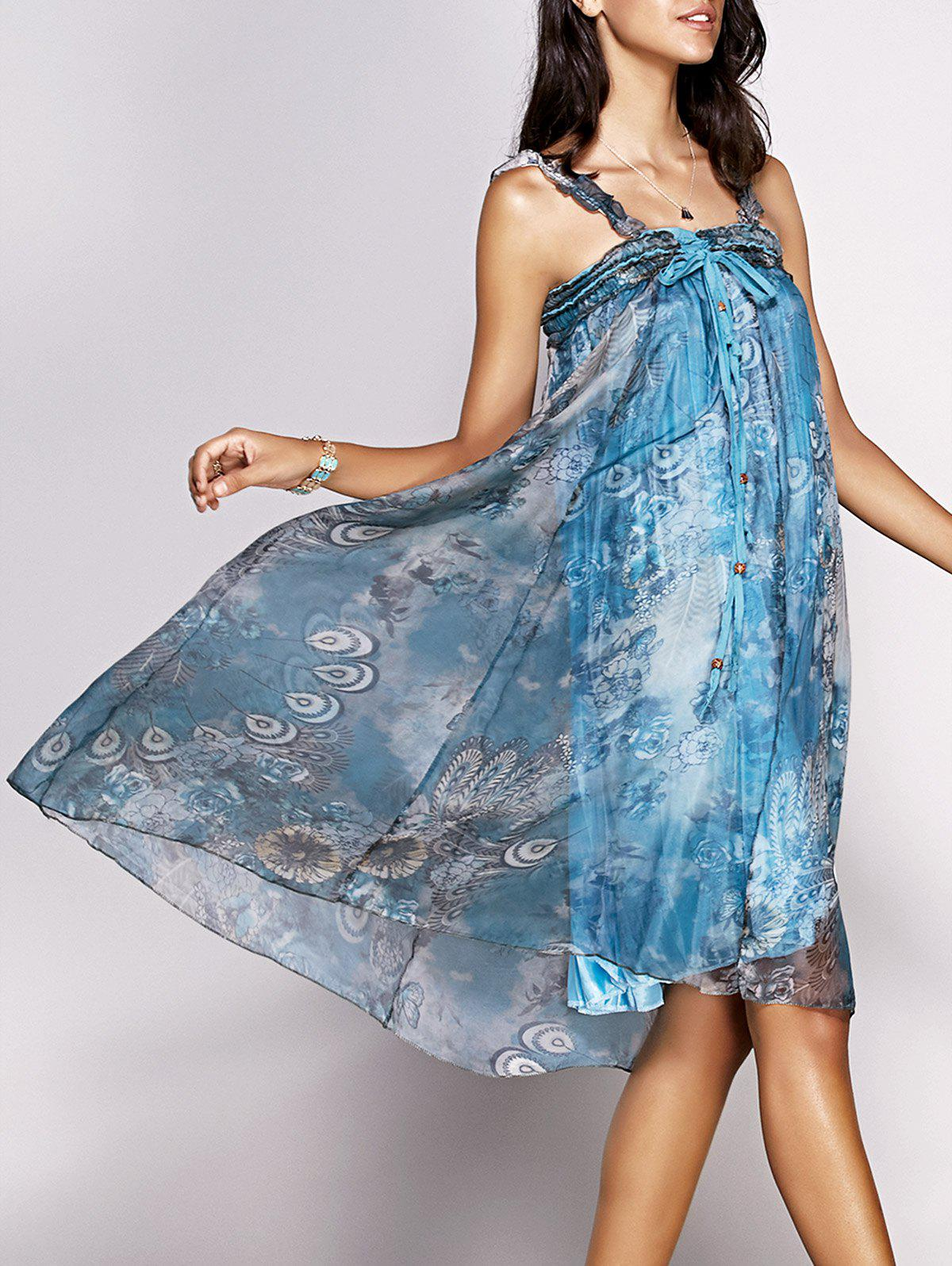 Trendy Feathers Print Tie Front Dress For Women - COLORMIX ONE SIZE(FIT SIZE XS TO M)