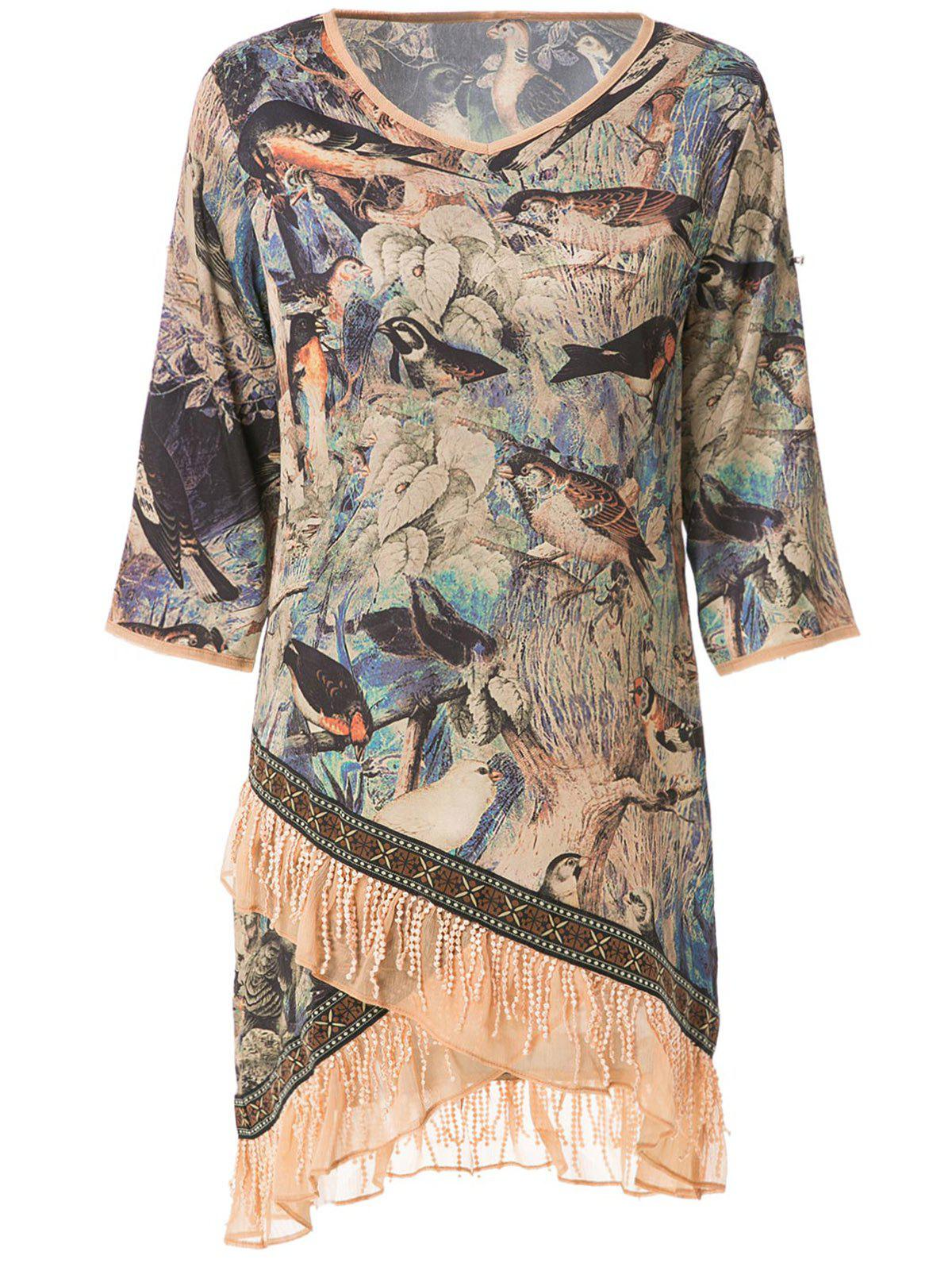 Stylish V-Neck Half Sleeve Bird Print Women's Dress - BLUE L