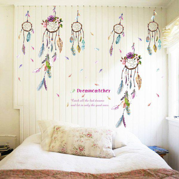 Vintage Feather Windbell Pattern Wall Sticker For Bedroom Livingroom Decoration - COLORMIX