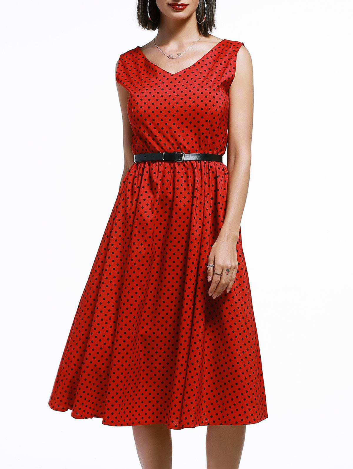Vintage Women's V-Neck Sleeveless Polka Dot Dress