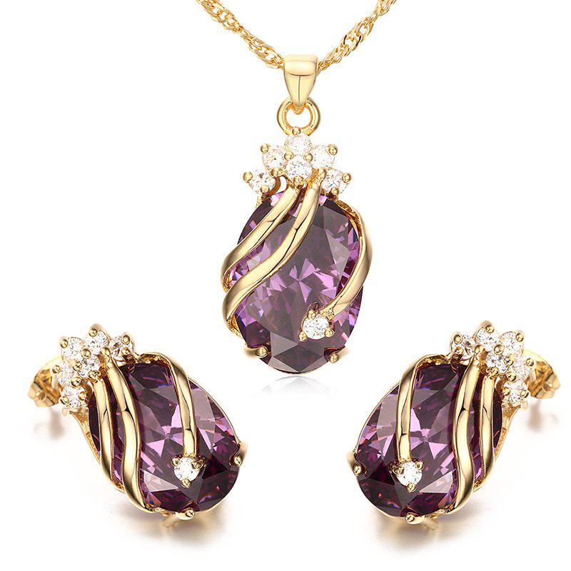 A Suit of Rhinestone Oval Necklace and Earrings - PURPLE