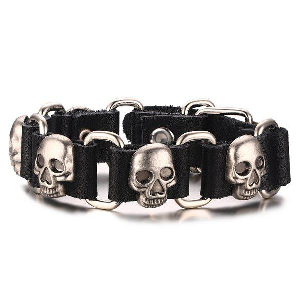 Gothic Faux Leather Skulls Bracelet For Men - BLACK