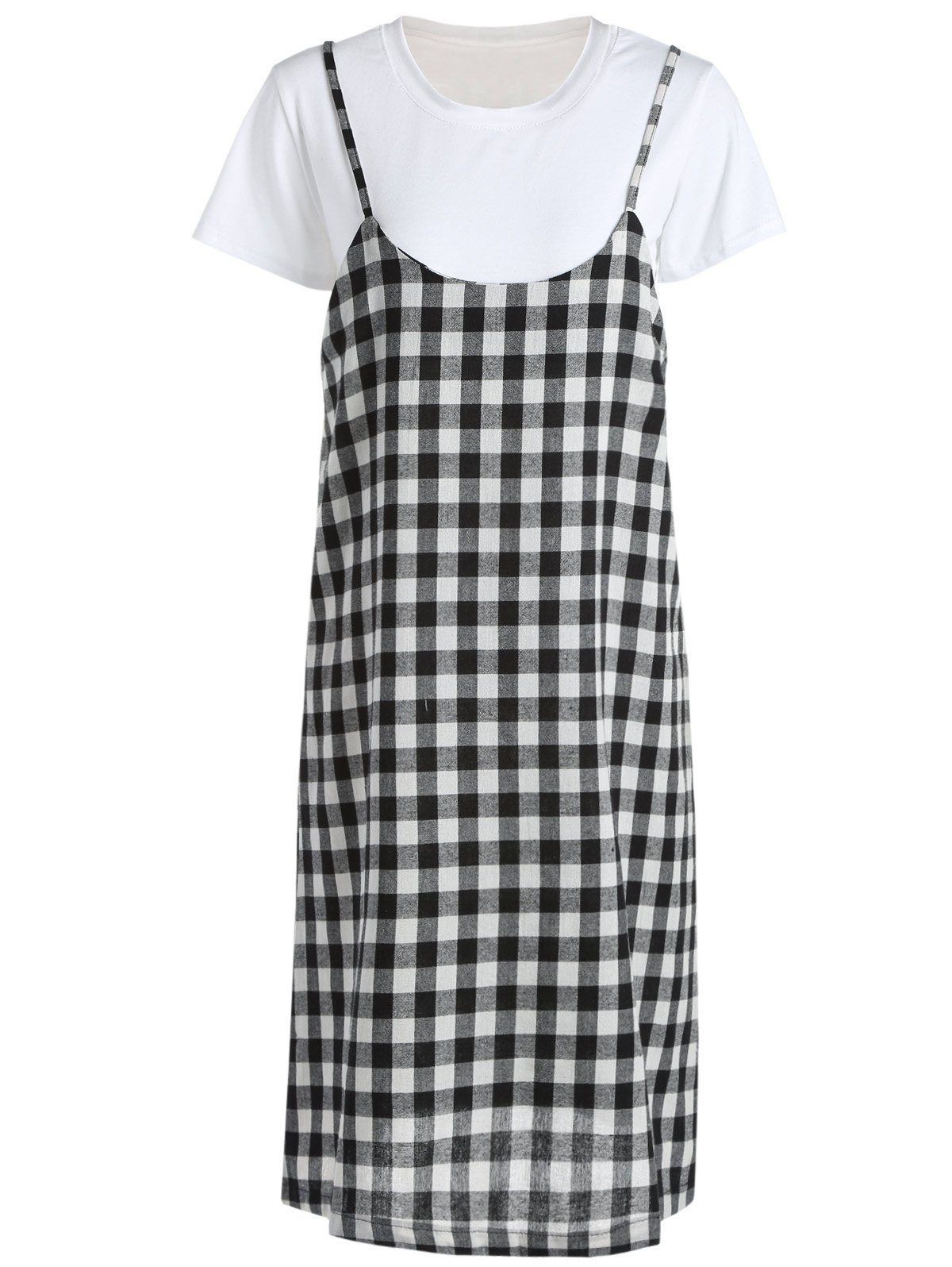 Casual Women's Round Neck Short Sleeve T-Shirt and Checkered Dress Set - WHITE/BLACK ONE SIZE(FIT SIZE XS TO M)