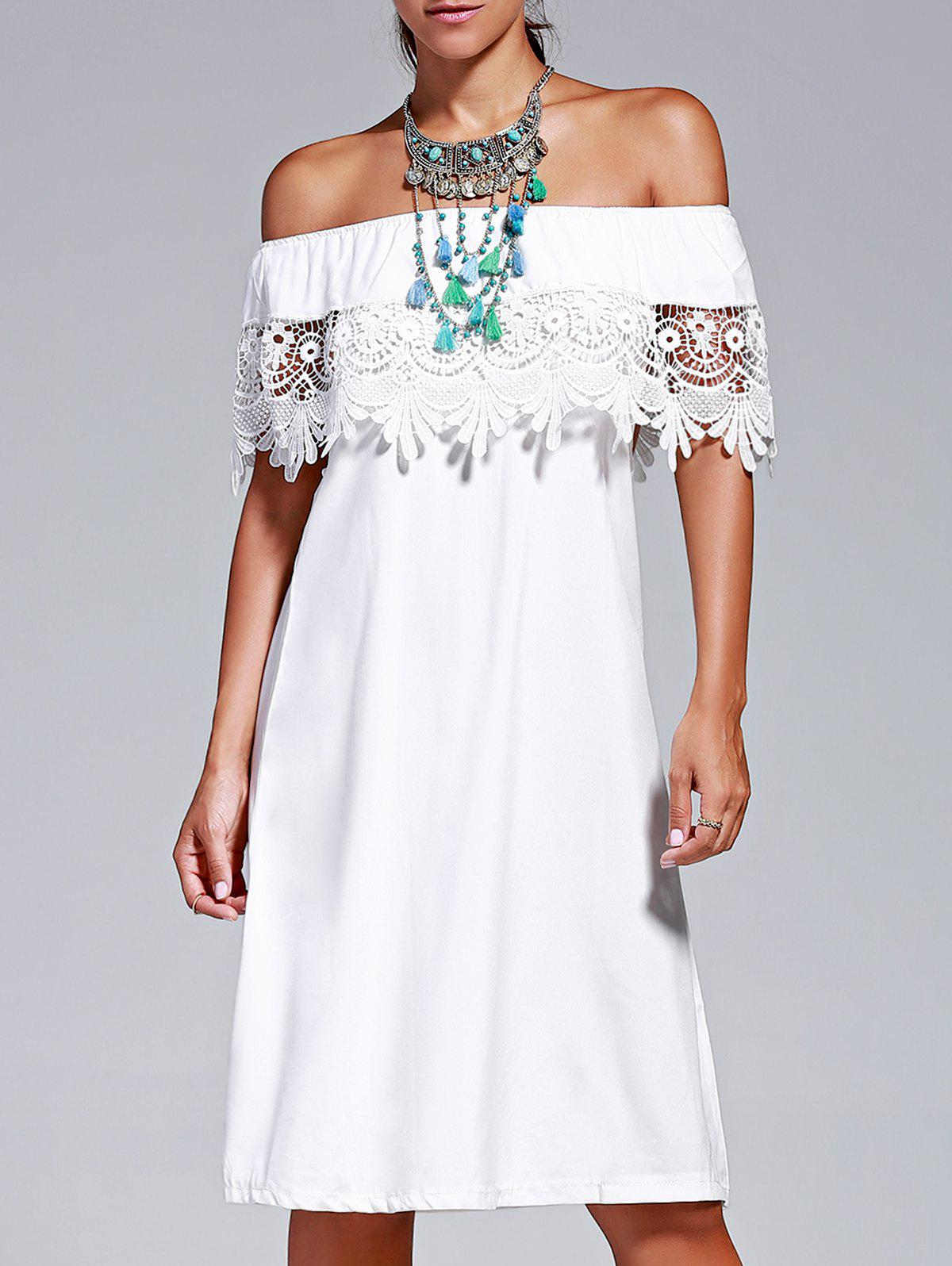 Sweet Lace Design Off The Shoulder Pure Color Dress For Women - WHITE XL
