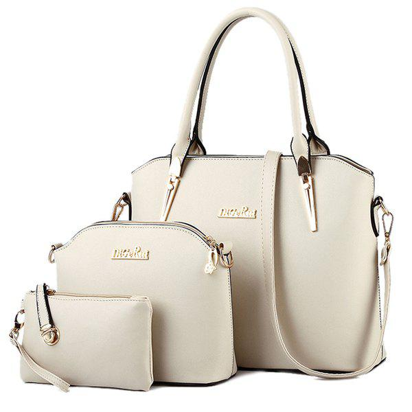 Charming Metal and Letter Design Women's Tote Bag - OFF WHITE