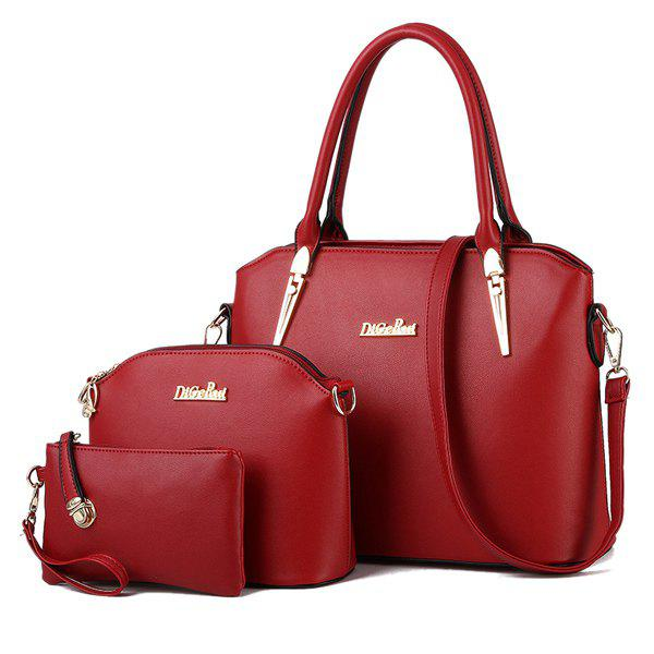 Charming Metal and Letter Design Womens Tote BagBags<br><br><br>Color: WINE RED