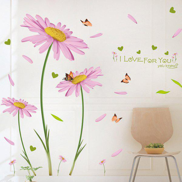 Stylish Pink Chrysanthemums Pattern Wall Sticker For Bedroom Livingroom Decoration - PINK