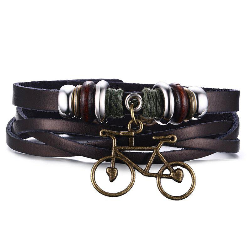 Chic Faux Leather Bike Bracelet For Men - BROWN