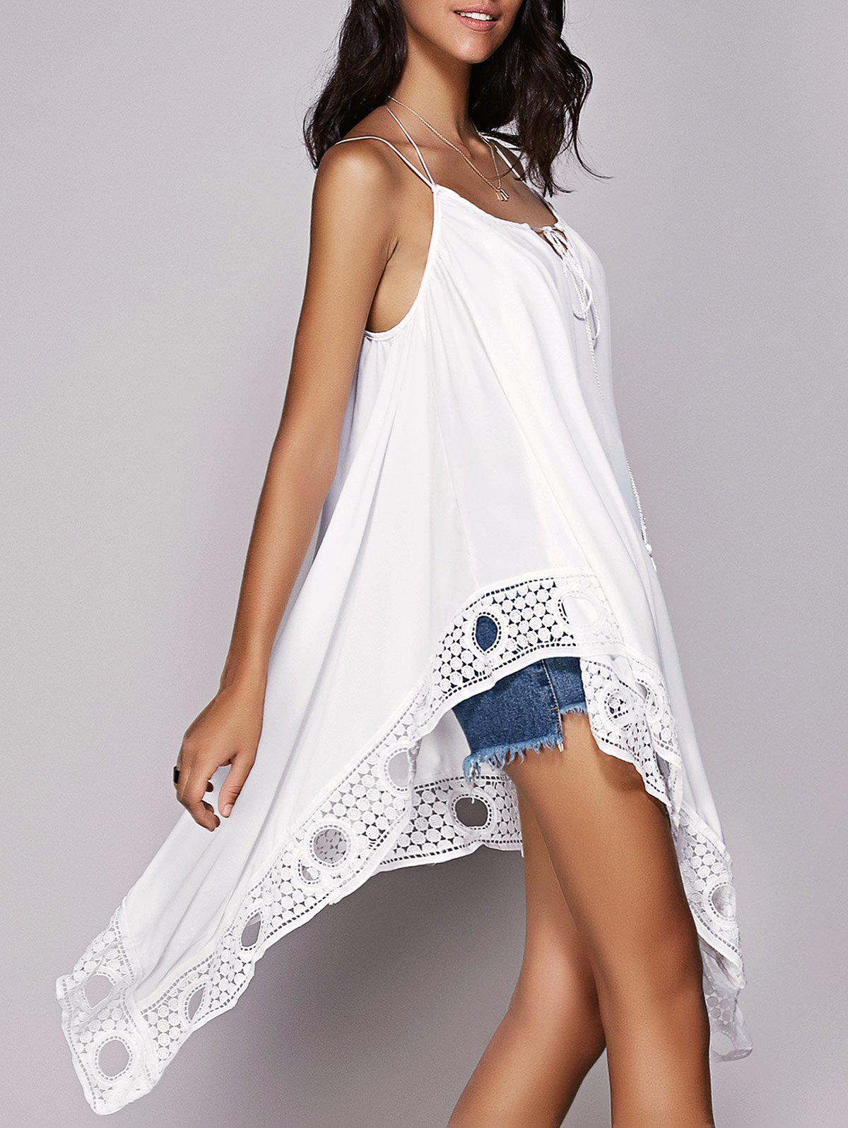 Stylish Womens Strappy Crochet Asymmetrical TopWomen<br><br><br>Size: M<br>Color: WHITE
