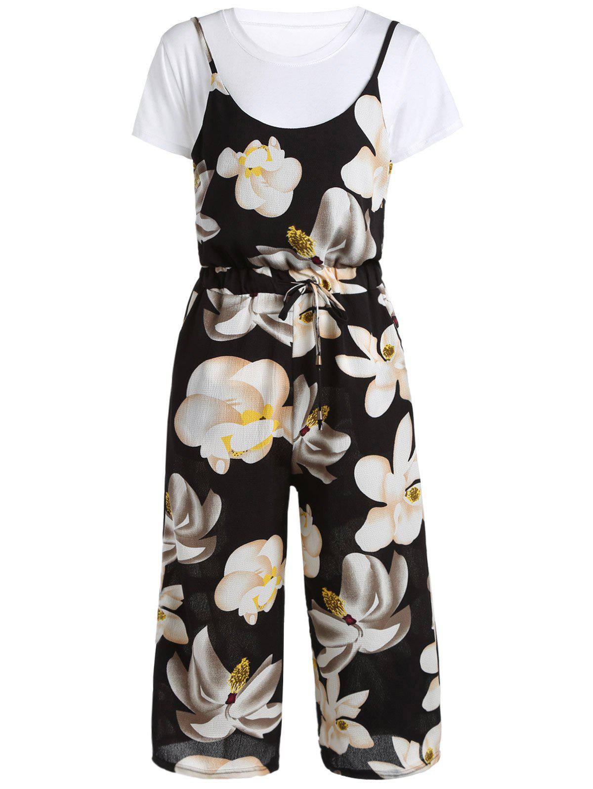 Sweet Women's White T-Shirt and Floral Print Drawstring Jumpsuit - BLACK ONE SIZE(FIT SIZE XS TO M)