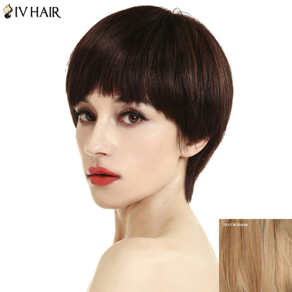 Women's Stylish Full Bang Siv Hair Short Human Hair Wig