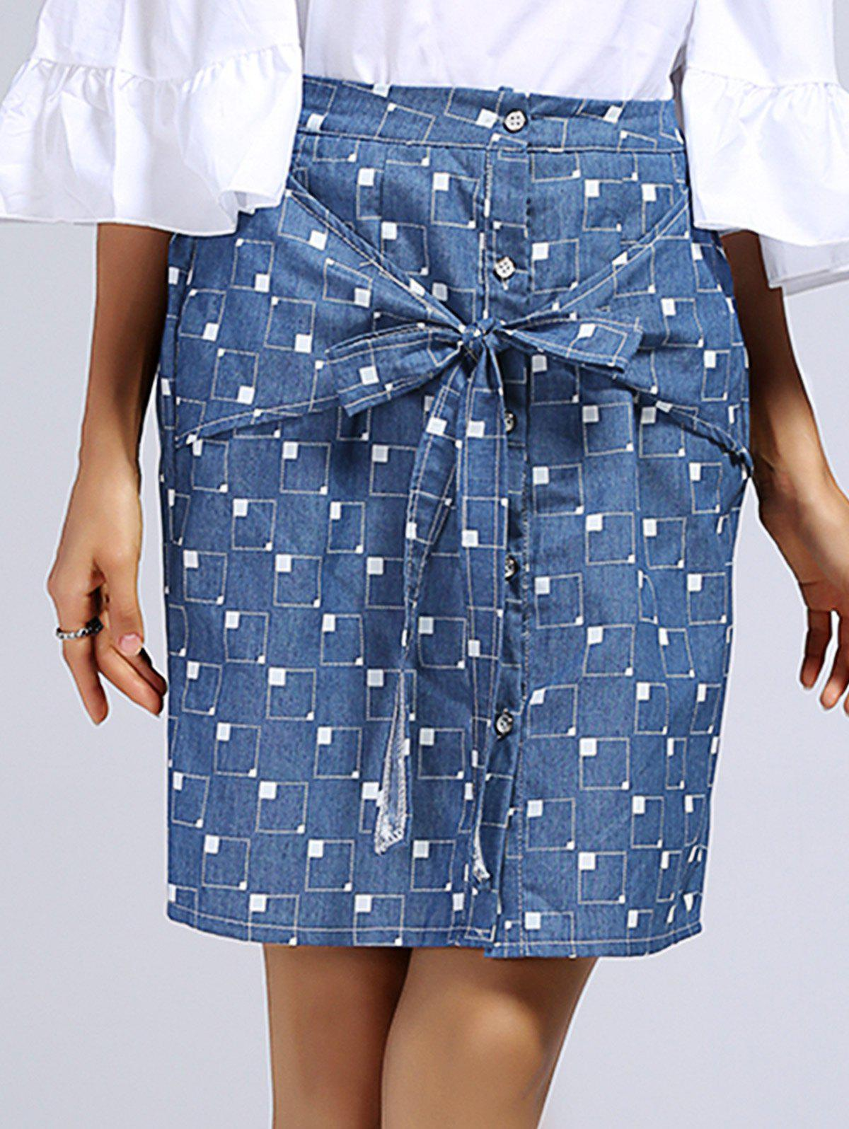 Chic Bowknot Embellished Plaid Pattern Women's Skirt - BLUE ONE SIZE(FIT SIZE XS TO M)