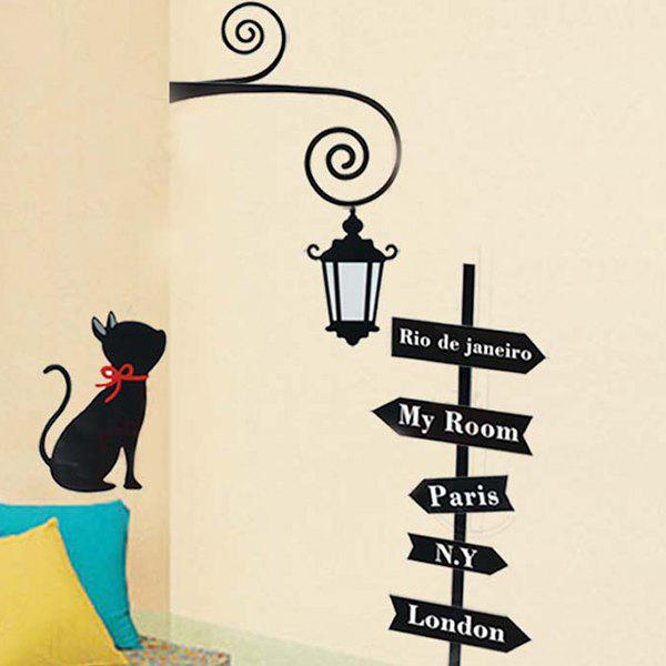 Vintage Style Street Light Kitten Pattern Wall Sticker For Bedroom Livingroom Decoration - BLACK
