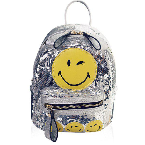 Trendy Sequins and Smiley Face Design Women's Satchel - SILVER