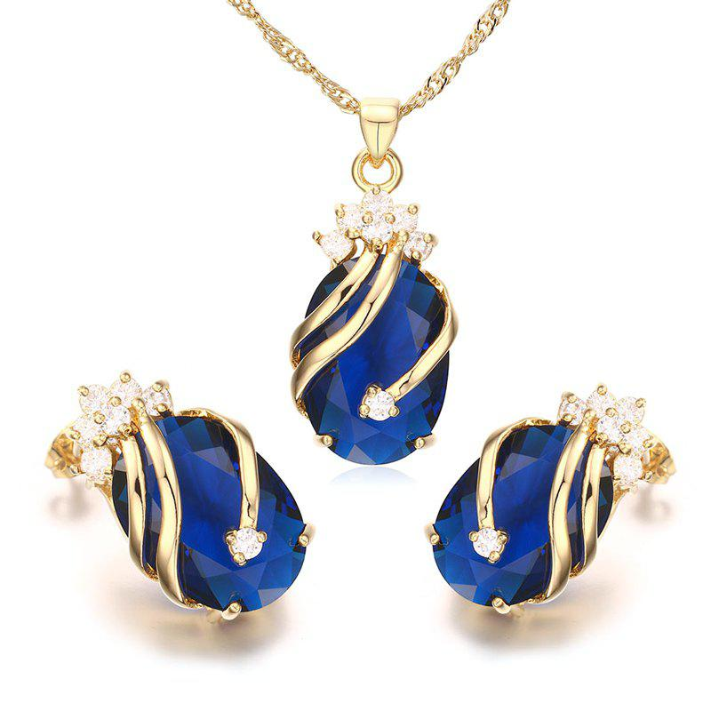 A Suit of Oval Rhinestone Necklace and Earrings - BLUE