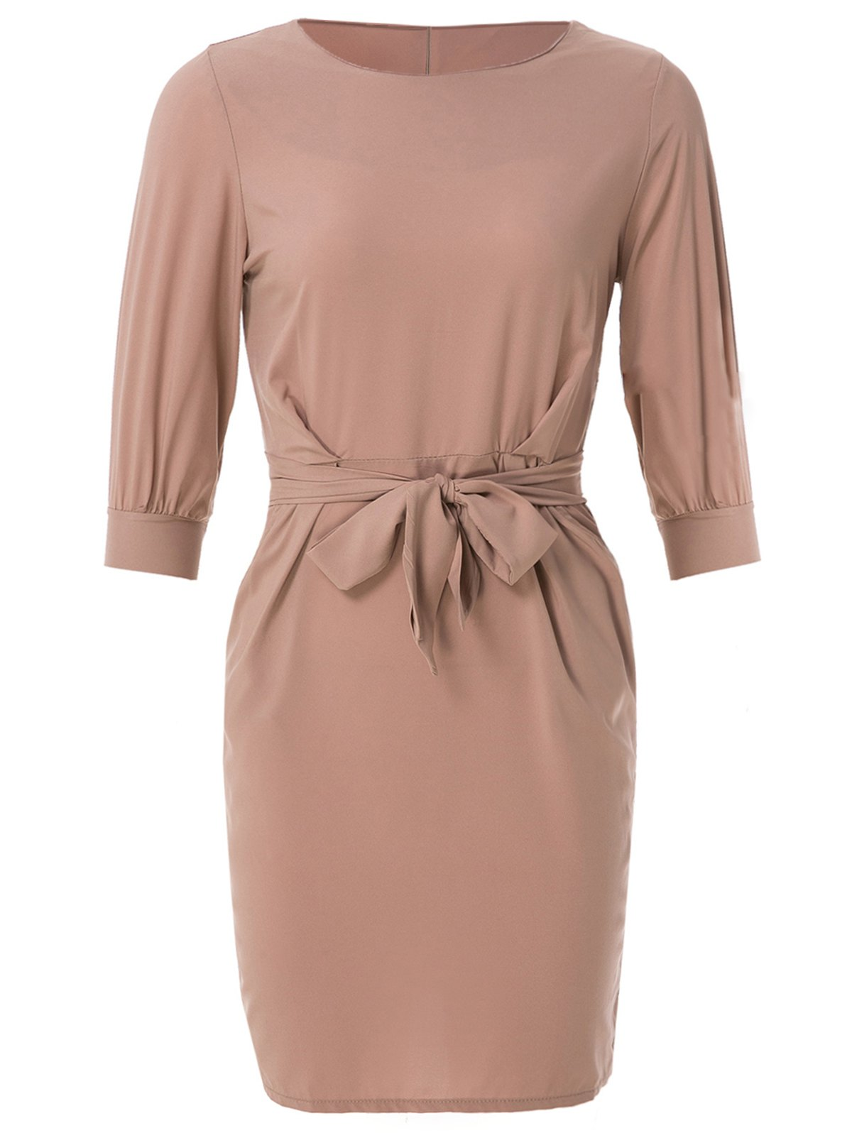 Sheath Boat Neck Dress With Belt - NUDE PINK M