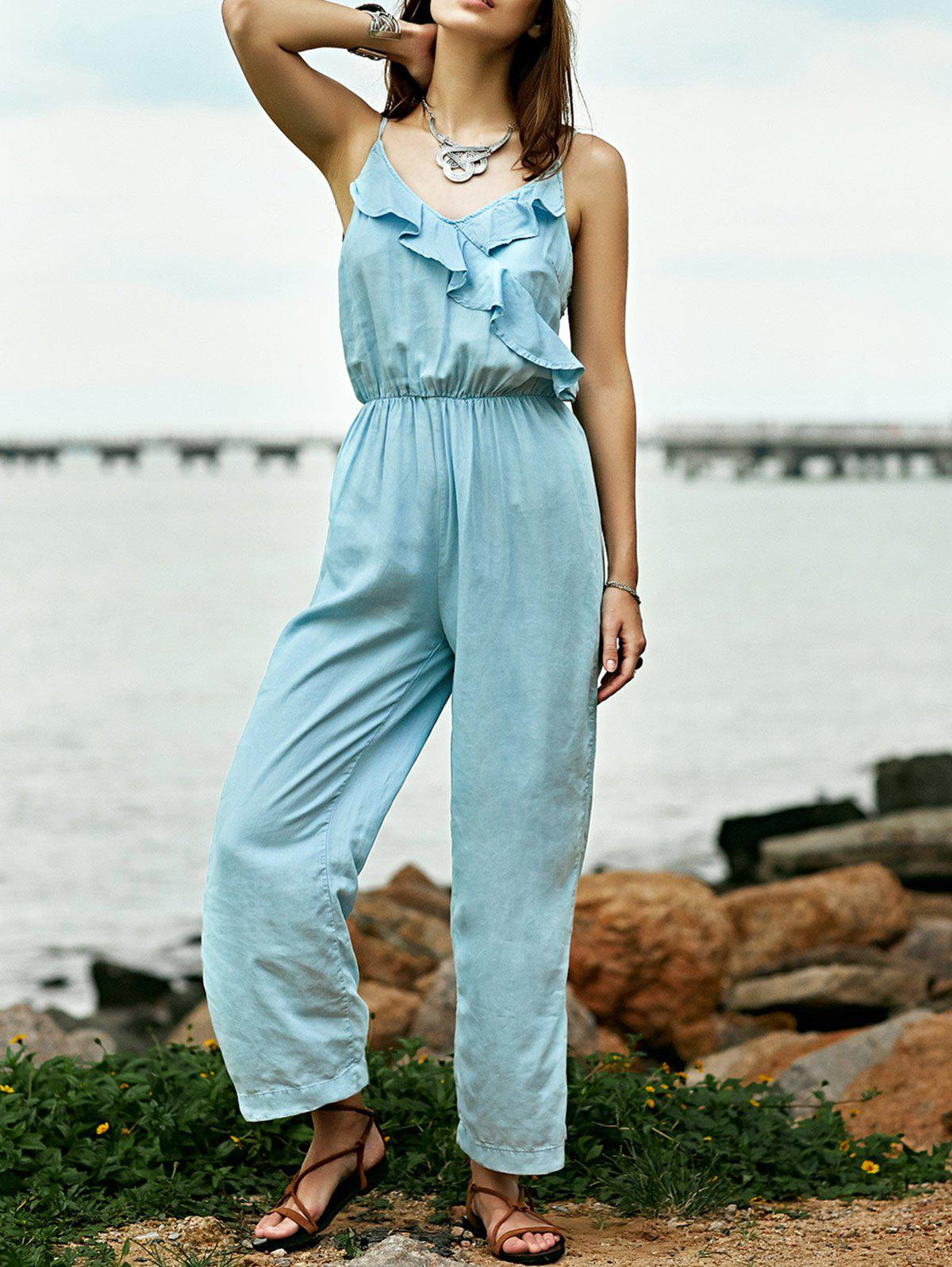 Stylish Cami Light Blue Ruffles Denim Women's Jumpsuit - LIGHT BLUE M
