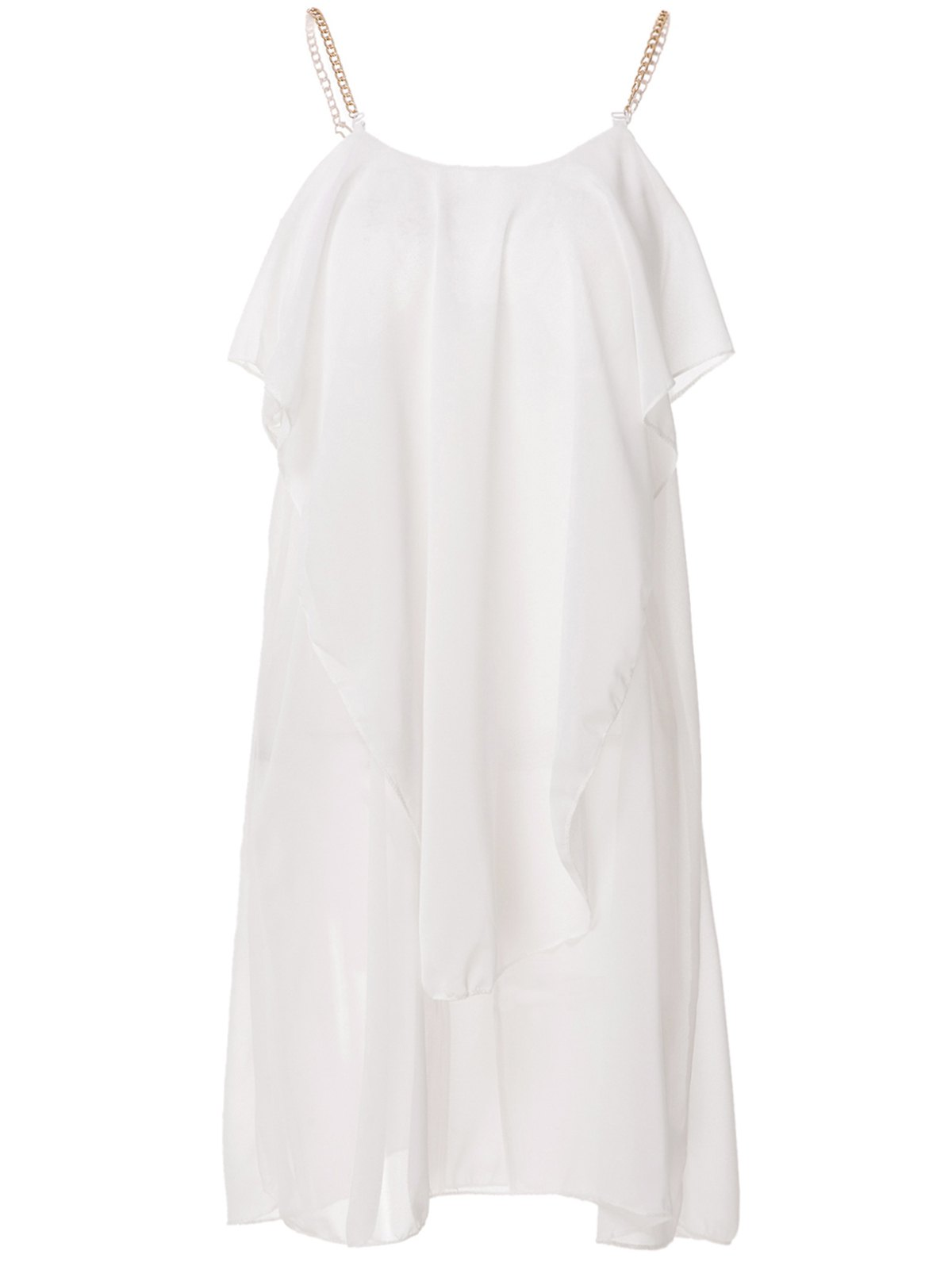 Stylish Women's Spaghetti Strap Solid Color Ruffled Chiffon Dress - WHITE L