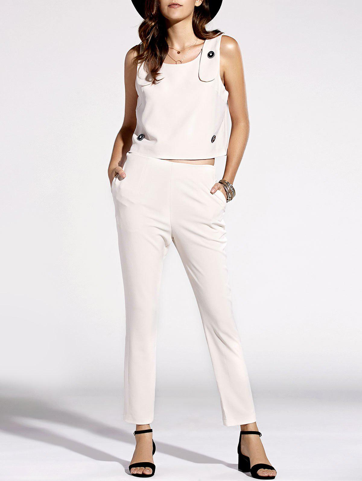 Stylish Scoop Neck Top and Solid Color Pants Set For Women - OFF WHITE XL