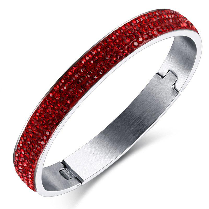 Alloy Rhinestoned Bracelet - RED
