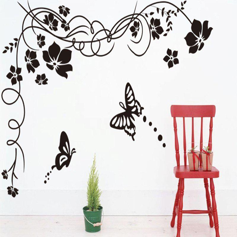 Fashion Black Flowers and Butterfly Pattern Removable DIY Wall Sticker - BLACK