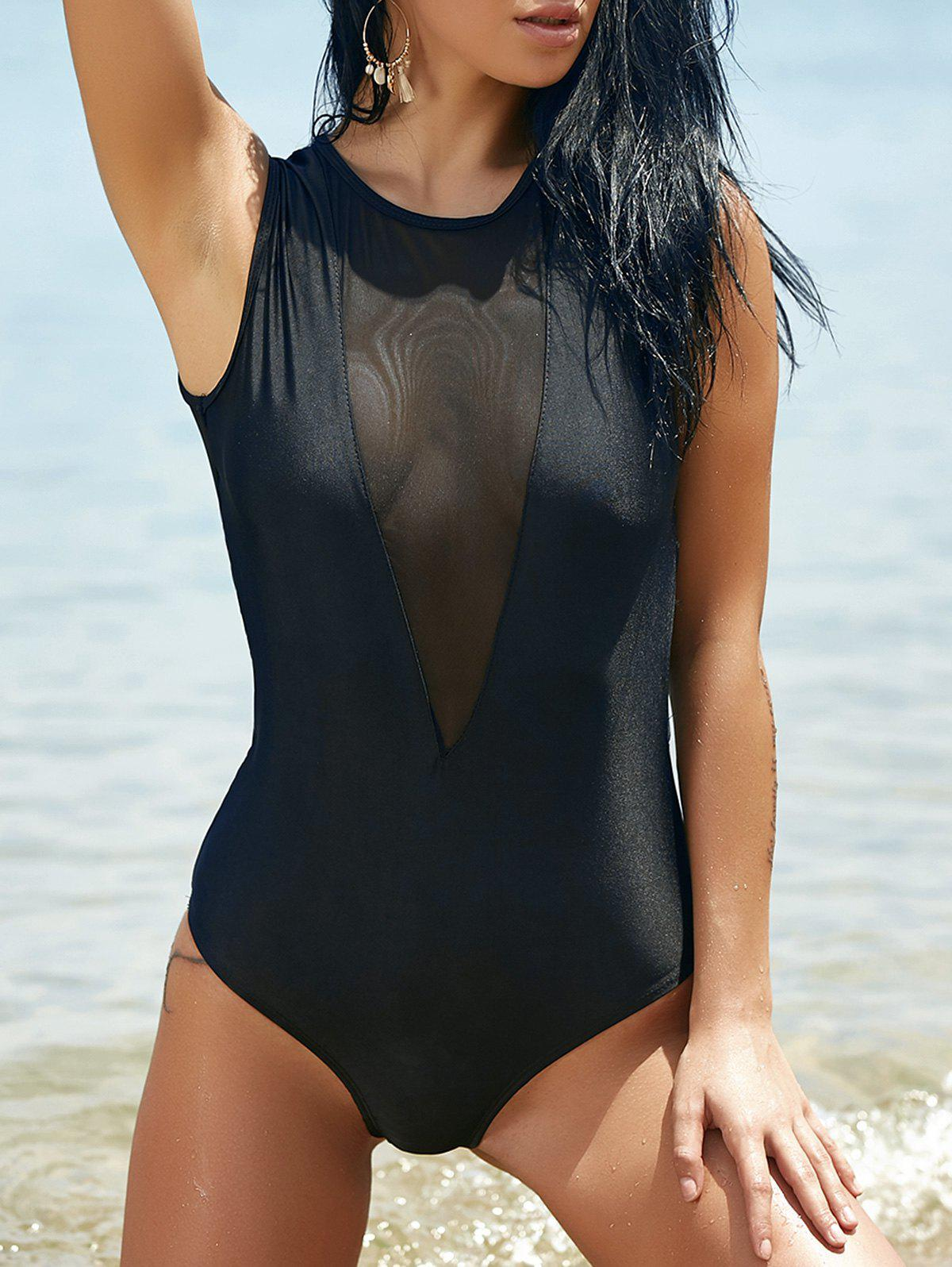 Chic Mesh Patchwork Crew Neck Solid Color One-Piece Women's Swimwear