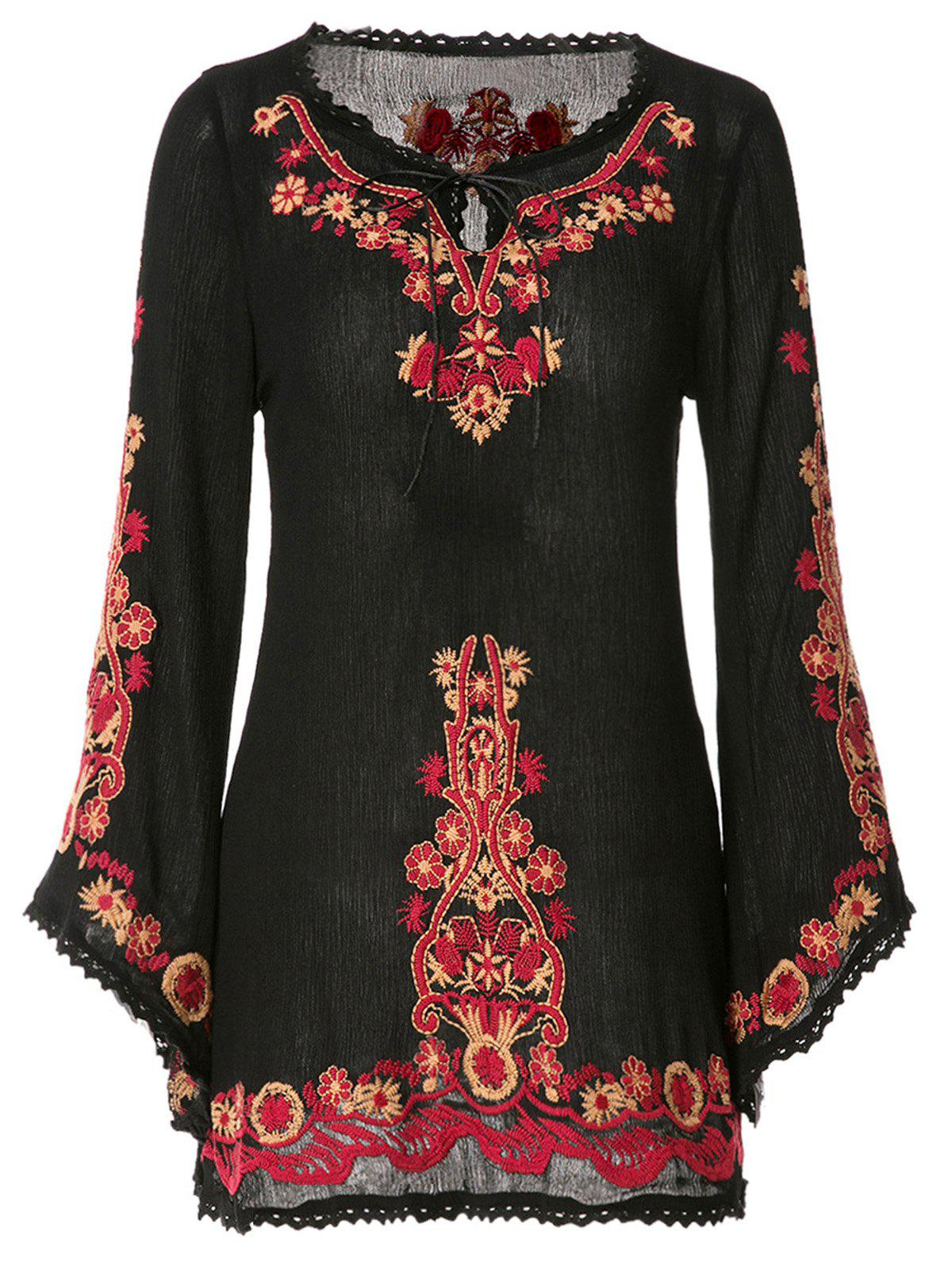 Ethnic Style V-Neck Floral Embroidery Lace Splicing Long Sleeve Dress For Women - BLACK ONE SIZE(FIT SIZE XS TO M)