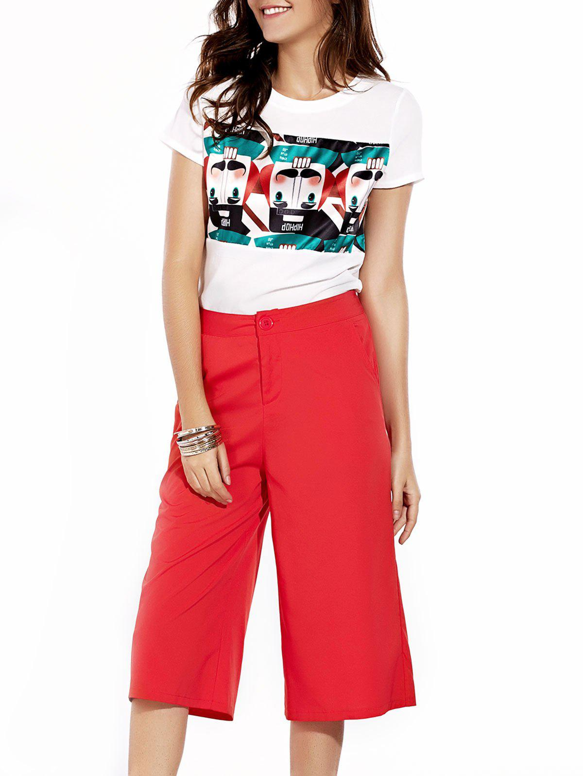 Stylish Women's Jewel Neck T-Shirt and Solid Color Pants Set - RED L