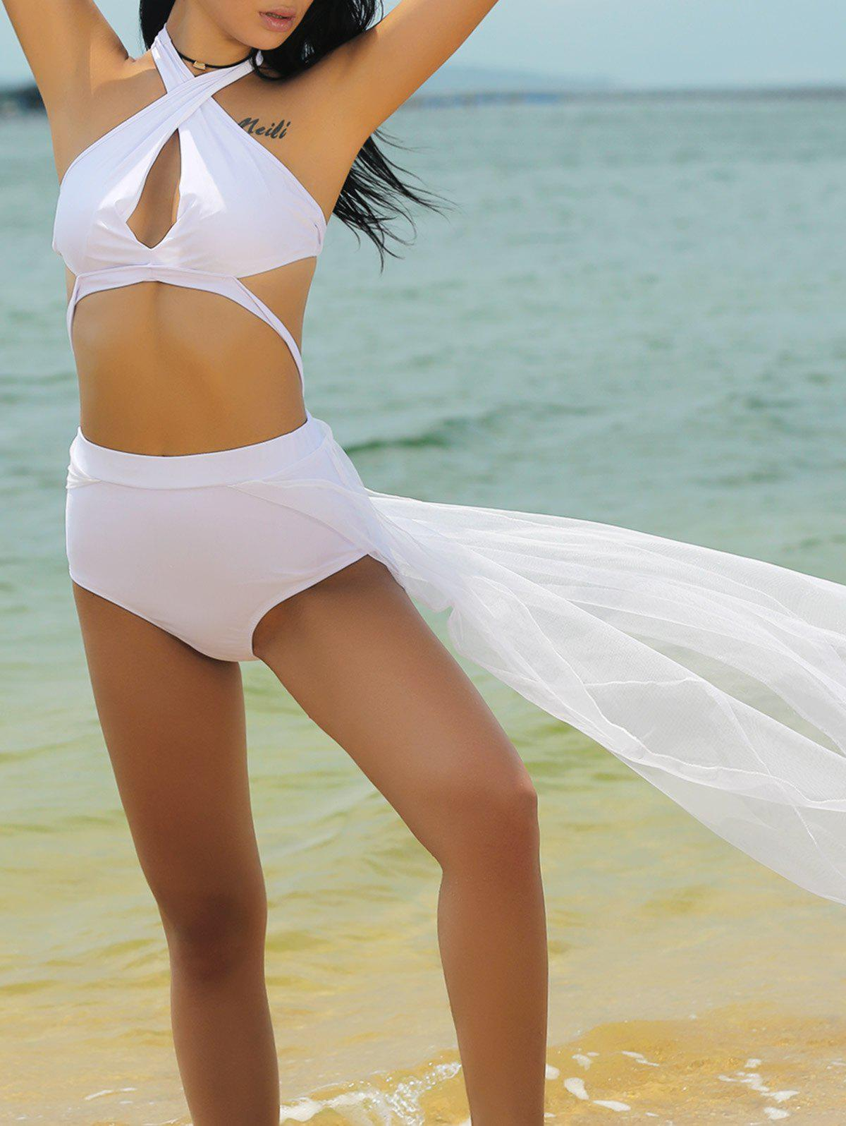 Stylish Spliced Halter Neck Hollow Out Women's Swimwear - WHITE 2XL