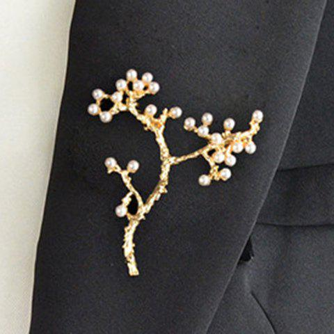 Chic Faux Pearl Gold Plated Tree Brooch For Women - GOLDEN