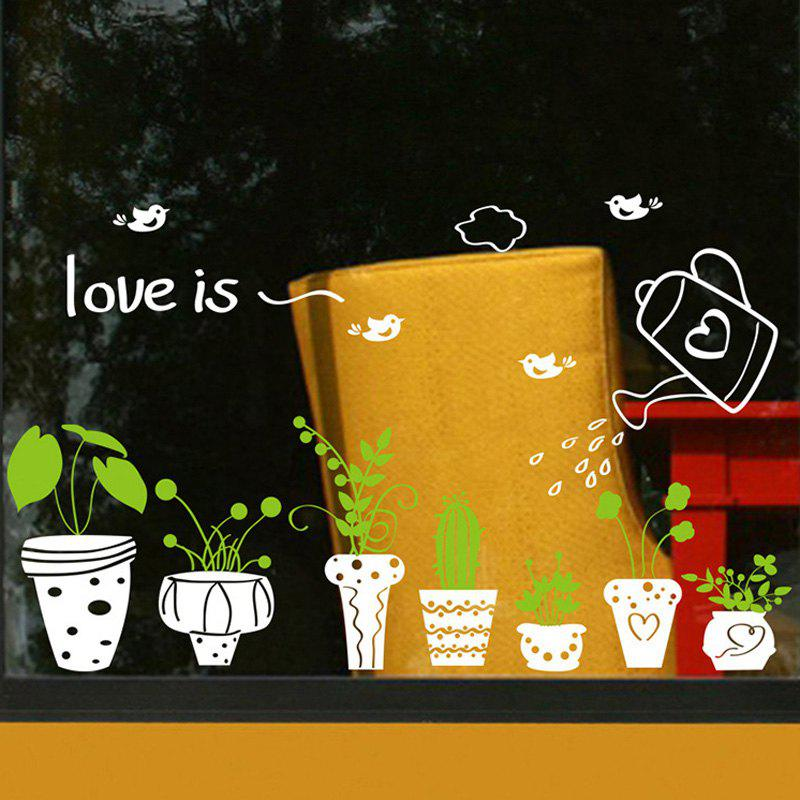 Novel DIY Potted Flower Design Removable Wall Sticker For Window Glass Decor