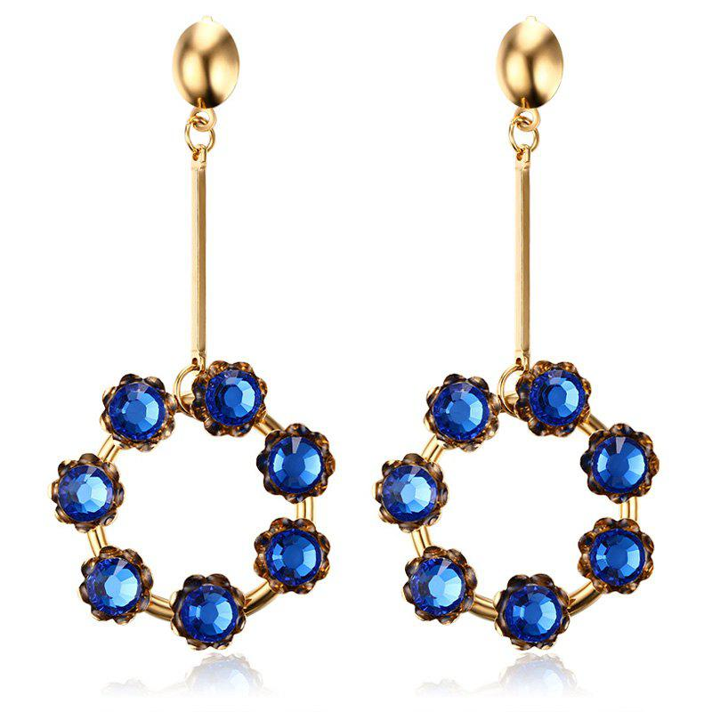 Pair of Vintage Blue Rhinestone Embellished Circular Pendant Earrings For Women