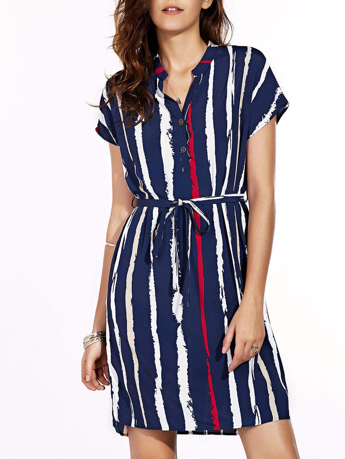 Casual Women's V-Neck Short Sleeves Stripe Dress - BLUE XL