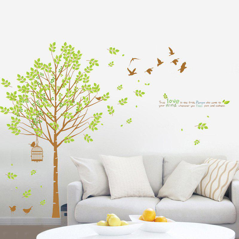 Fashion DIY Tree and Birdcage Pattern Wall Sticker For Living Room Decor - GREEN / BROWN