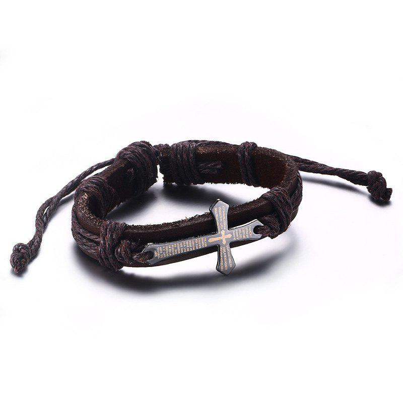 Chic Faux Leather Crucifix Adjustable Bracelet For Men