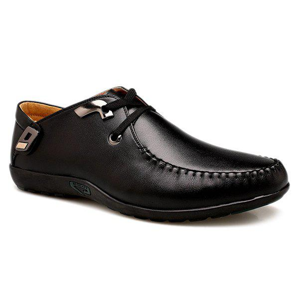 Trendy Lace-Up and Metal Design Men's Casual Shoes - BLACK 43