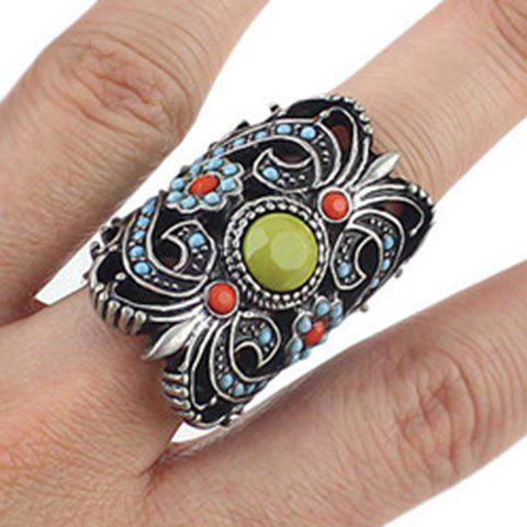 Vintage Hollow Out Carved Alloy Ring - BLACK