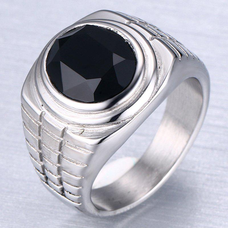 Chic Rhinestone Embellished Ring Jewelry For Men - SILVER ONE-SIZE