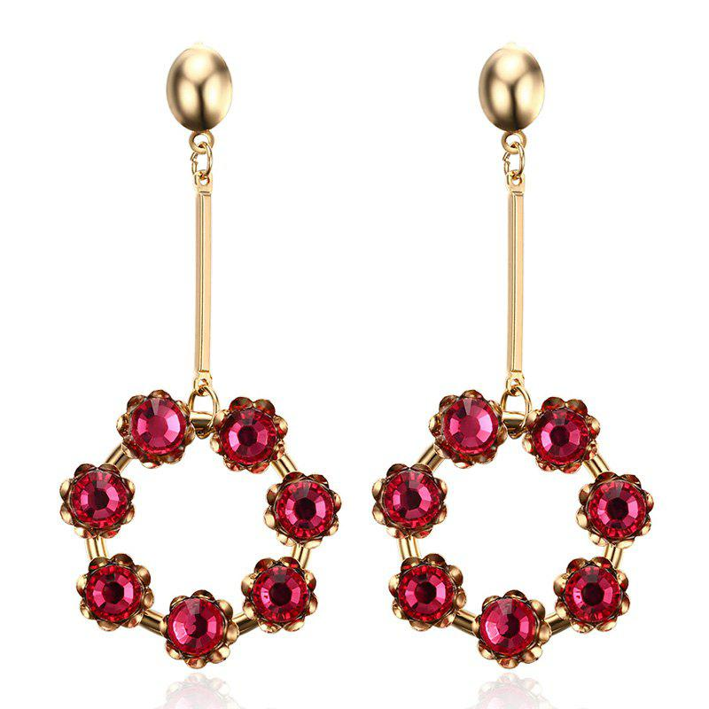 Pair of Vintage Artificial Ruby Circular Pendant Earrings For Women - RED