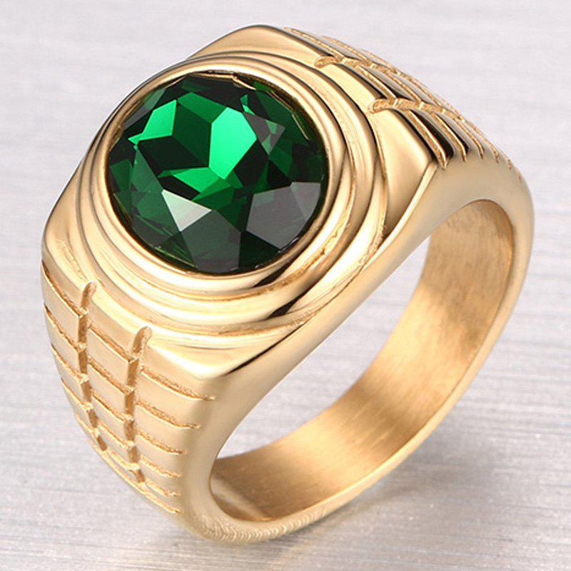 Delicate Embellished Rhinestone Ring For Men - ONE-SIZE GOLDEN