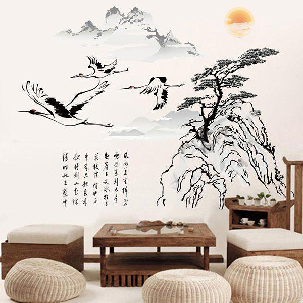 Chinese Ink Landscape Painting Pattern Wall Sticker For Bedroom Livingroom Decoration