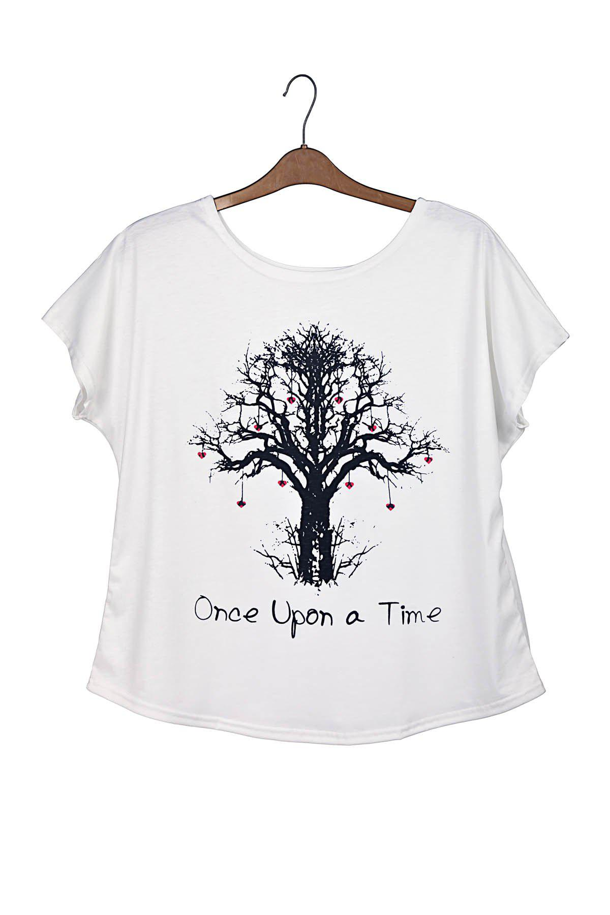 Wishing Tree Print Sweet Scoop Neck Batwing Sleeve Casual Women's T-Shirt - ONE SIZE WHITE